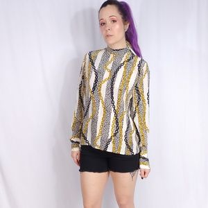 Celine Leopard Animal Print Chain Silk Blouse 10